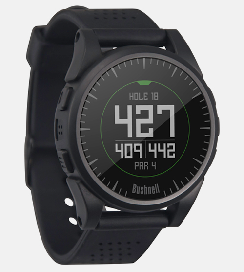 Bushnell Golf Excel GPS watch face with distance to pin on a par 4 hole.
