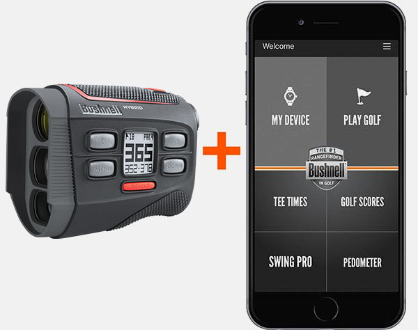 Connect the Hybrid laser rangefinder + GPS to the Bushnell Golf app for optimal usage.