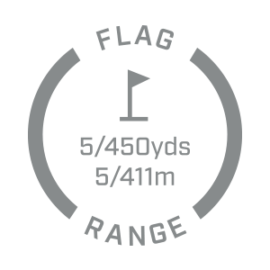 Ranges 450+ yards to a flag