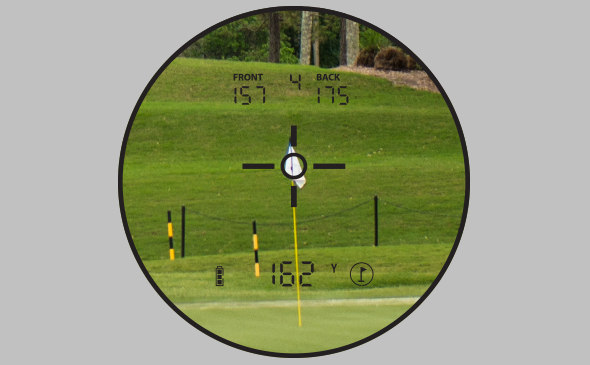 Bushnell Golf PRO X2 laser rangefinder and GPS photo through scope showcasing JOLT technology.