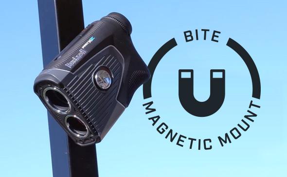 Bushnell Golf laser rangefinder with magnet that sticks to your golf cart.