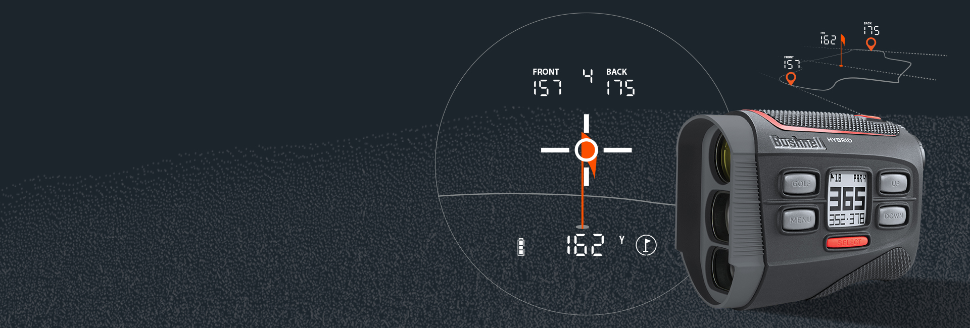 Bushnell Golf Laser Rangefinder Header Image with Scope HUD Display