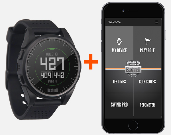 Bushnell Golf iON 2 GPS watch and Bushnell Golf app.