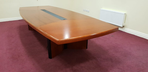Large cherry boardroom table