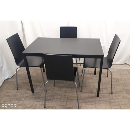Black Canteen Dining Table and Chairs