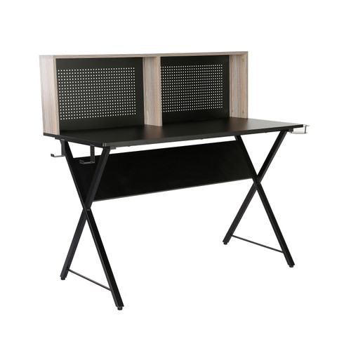 Ellora home office workstation with shelving storage unit - Black top with grey oak hutch and black frame