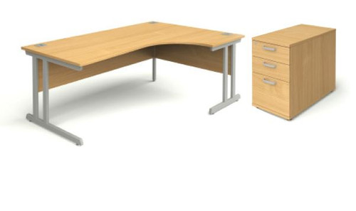Beech radial office desk and desk high pedestal