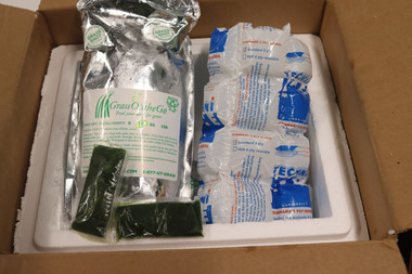 Wheatgrass arrives in 30 count bags delivered by FedEx with dry ice and techni ice packs, guaranteed to arrive frozen and will stay good for up to 1 year in the freezer.