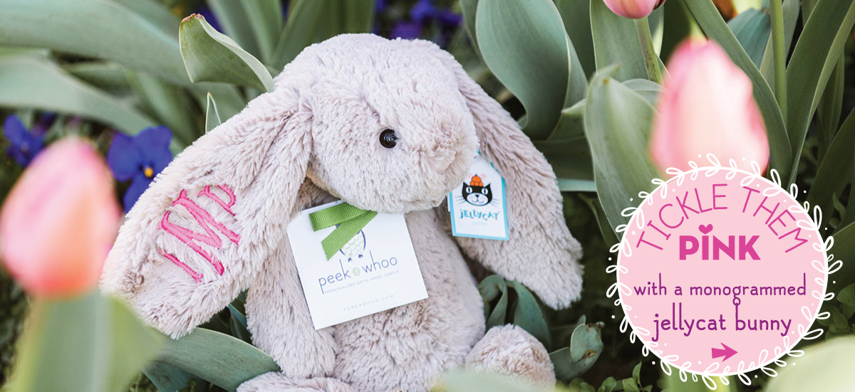 Tickle Them Pink with a monogrammed jellycat bunny
