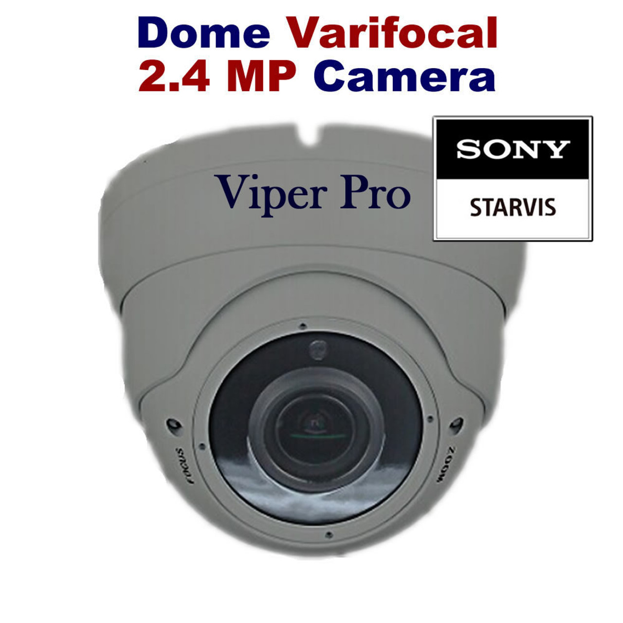 Viper Pro - CCTV Dome Camera 1080p Sony Starvis 2 4MP Varifocal Lens Night  Vision for HD TVI CVI AHD Analogue DVR Outdoor (Grey)