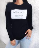 Unisex 'NO FOTOS POR FAVOR' Black Long Sleeve