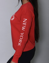 Unisex Red 'NEW YORK Crest' Sweatshirt