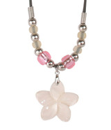 Large Pink Flower Shell Necklace