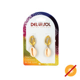 Pink and Gold Cowrie Earrings