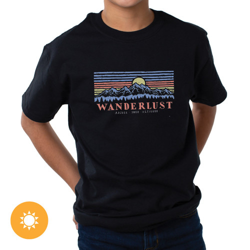 Kid's Crew Tee - Mountain Scene - Black