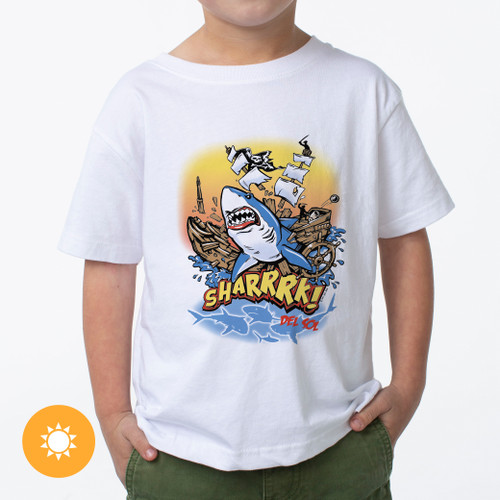 Kid's Crew Tee - Sharrrk! - White