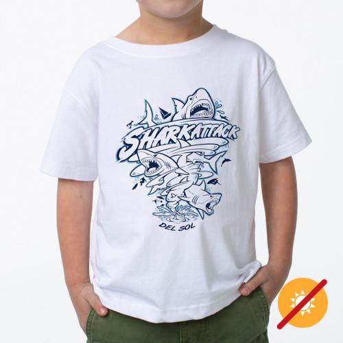 Kid's Crew Tee - Shark Strike - White