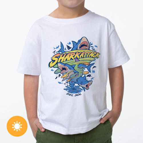 Kid's Crew Tee - Shark Strike - White