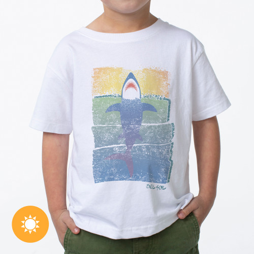Kid's Crew Tee - Rising Shark - White