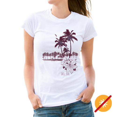 Women's Tee - Palms & Floral - White