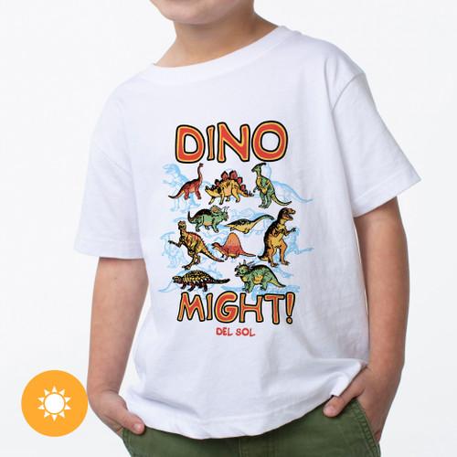 Kid's Crew Tee - Dino Might - White