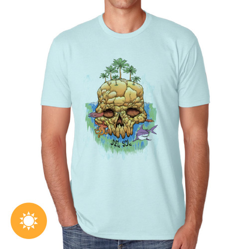 Men's Crew Tee - Deadly Island - Ice Blue