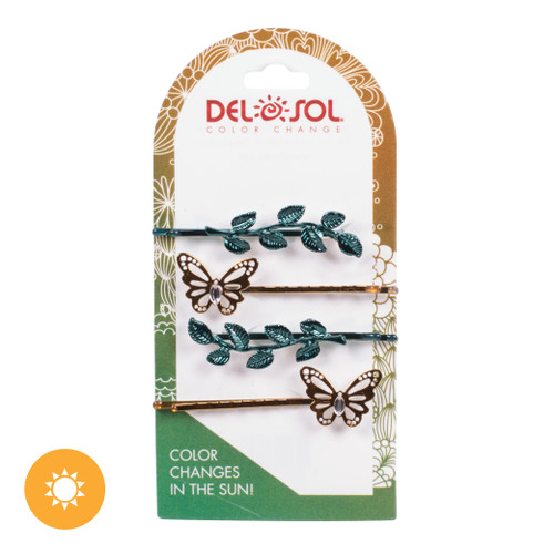 Color-Changing Hair Pins - Butterfly and Leaves