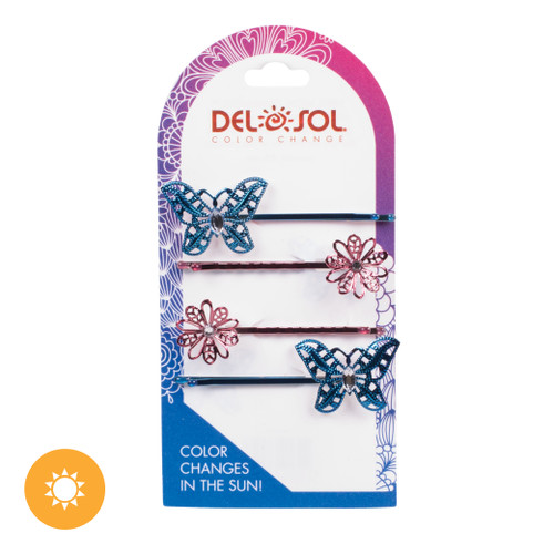 Color-Changing Hair Pins - Jeweled Butterfly and Daisy
