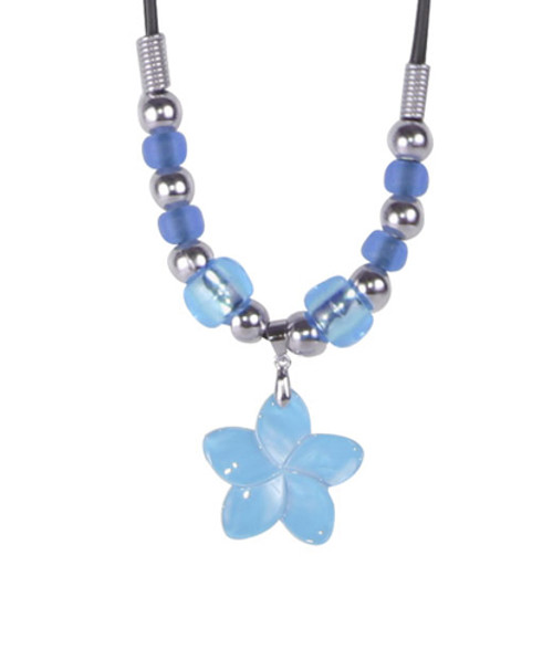 Color-Changing Necklace - Small Blue Flower Shell