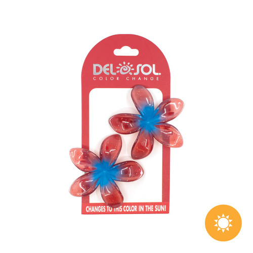Color-Changing Hair Clips - Plumeria - Blue and Red