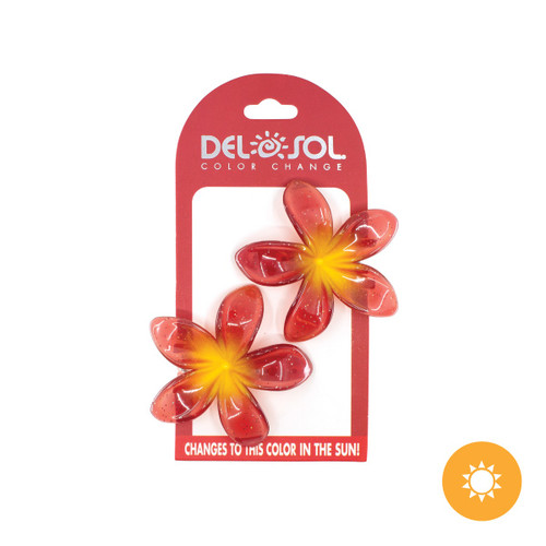 Color-Changing Hair Clips - Plumeria - Yellow and Red