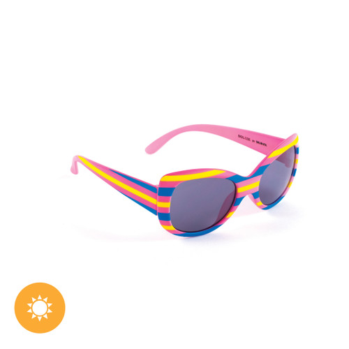Kid's Solize Sunglasses - Over the Rainbow - White Striped to Pink Striped
