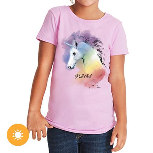 Girl's Crew Tee - Watercolor Unicorn - Lilac