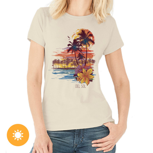 Women's Boyfriend Tee - Palms & Floral Sunset