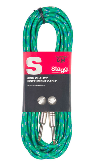 Stagg 6M Green Tweed Instrument Cable