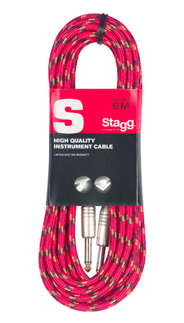 Stagg 6M Red Tweed Instrument Cable