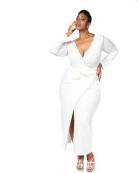 Off white faux wrap ambassador gown with rhinestone accents on right side and tie belt