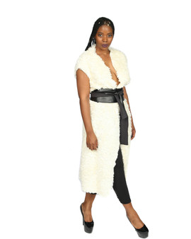 Cream faux wrap midi vest with black belt (Sold Out)