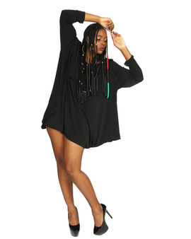Little black hooded dress with long  sleeves . Designed with ITY 4 way stretch fabric. Versatile design.