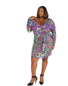 Purple, green multi Ambassador faux wrap dress long sleeves