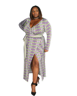 Purple green white multi color ambassador faux wrap maxi long sleeves.(Sold Out)
