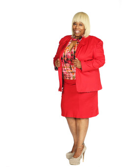 Red hot 2 pc skirt suit with jacket lined with fitted skirt.