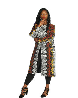 Black white and brown multi color midi duster coat long sleeves lined.