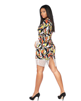 Multi color abstract fitted midi dress white white mesh bottom and sleeves