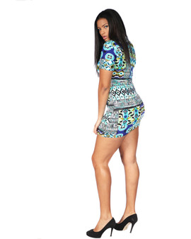 Royal blue and turquoise mini fitted ambassador dress