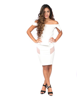 Off white fitted dress