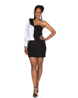 Black and white pin stripped 2 in one dress