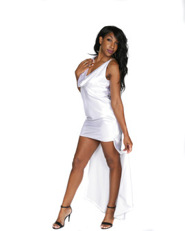 White satin high low gown with sequined straps