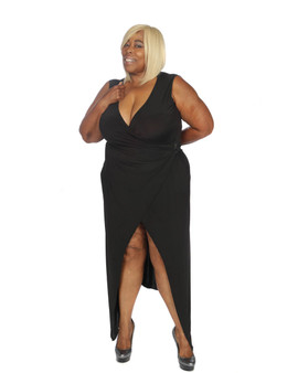 Black ITY seasonles sambassador maxi faux wrap dress