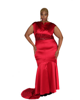 Candy red stretch satin gown with sequined accented sides